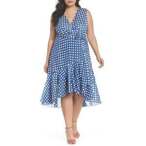 Eliza J Womens Blue Check Ruffle High/low Dress